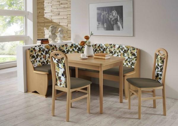 Truhen-Eckbankgruppe, Buche Natur Dekor; Eckbank, 2 Stühle und Vierfußtisch mit Auszügen; Bezug: Flachgewebe uni braun und braun-floral; variabel aufbaubar